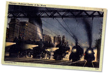 realia: Night scene - Chicago railroads